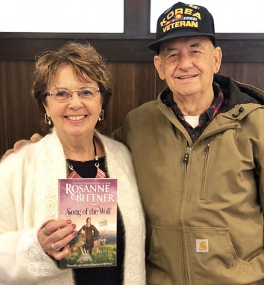 Rosanne and fan Chester Cripe. Chet now has 39 of Rosanne's books and plans to collect them all!