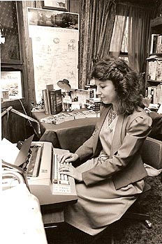 Rosanne Bittner when she first started writing -- on a typewriter. Ca 1985-96